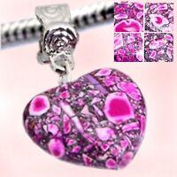 Resin Stone HEART Dangle Beads for European Style Bracelets - New - MULTI PINK