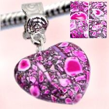 Bracelet HEART Dangle for European Style Bracelets - New - MULTI PINK
