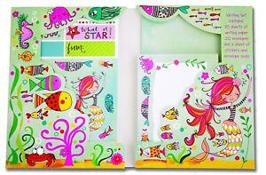 Mermaid Glitter Writing Set Wallet Rachel Ellen Designs Girls Notepaper Stickers