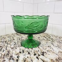 Vintage Pedastal Candy Dish Depression Era Green Glass Bowl E.O. Brody