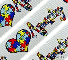 """High Quality 7/8"""" Autism Awareness AMAZING PUZZLE HEART Printed Grosgrain Ribbon"""