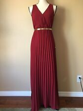 Forever 21 Contemporary Dark Red Pleated Sleeveless Maxi Dress XS