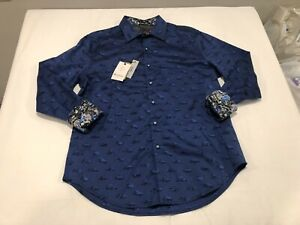 NWT $198.00 Robert Graham Mens Winners Circle LS Buttondown Sapphire Cars MEDIUM