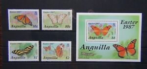 Anguilla 1987 Easter Butterflies set & Miniature Sheet MNH