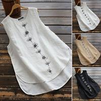 ZANZEA Womens Summer Sleeveless Vest Cami Top Tee T Shirt Floral Blouse S-5XL