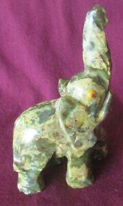 """VINTAGE CARVED JADE ELEPHANT FIGURE, Trunk up, Multi-color, 5"""" high"""