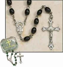 Black Oval Rosary with My Rosary Case (ND308) NEW