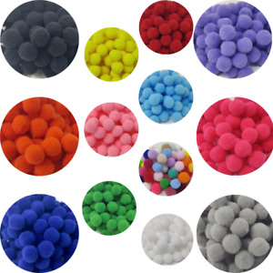 Pack of 100/300/500 Mini 10mm Craft Poms Arts & Crafts Kids Mixed Colour Pompoms