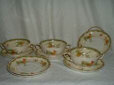 3 Johnson Brothers Old Staffordshire Ningpo Lug Cream Soup Bowls wSaucers