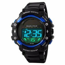 Sports Solar Energy LED Digital Watch 50M Waterproof Military Wristwatch