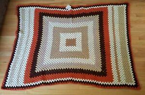 Handmade crochet knit throw blanket square ivory tan orange 63 x 45 autumn retro