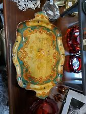 Ornate Vintage Paper Mache green gold Alcohol Proof Serving Tray Japan