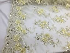 3D RIBBON FLOWERS EMBROIDER WITH SEQUINS ON A DARK IVORY MESH-SOLD BY THE YARD