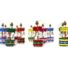 12pc Christmas Tree Wooden Multicolour Carousel Decoration Hanging Ornaments