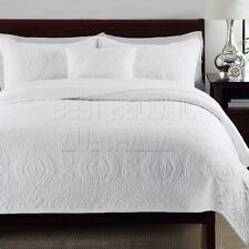 100% Cotton Coverlet / Bedspread Set Queen King Size Bed 230x250cm Damask White