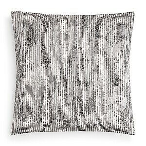 """Hudson Park Collection Embroidered Texture 20"""" Decorative Pillow - Charcoal"""