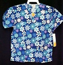 Peaches Uniforms Small Flower Blue Teal Purple Cotton Scrub Top 4144BLBQ New