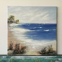Seascape Original Painting abstract art on canvas Impressionism Beach Sea Ocean