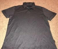 Perry Ellis Men's Stripe Polo Shirt black and gray shirt sleeve size small