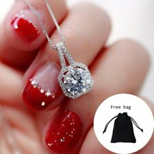 Charm Women White Gold Plated CZ Pendant Necklace Clavicle Choker Jewelry Gift