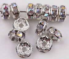 50/100Pcs 6mm Silver Plated Glass Crystal Spacer Loose Disc Beads Charm Findings