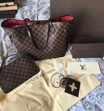 Louis-Vuitton-Neverfull MM Damier Ebene Tote Handbag & Clutch Pochette Dust Bag*