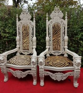 2xLion King & Queen white throne chair to  HIRE ONLY