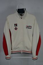 Mens Fila White Line Retro Casual Red Track Tennis Jacket Size Small