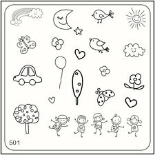 MoYou Nail Fashion Stamping Nail Art Image Plate 501 Trendy Style Kids & Birds