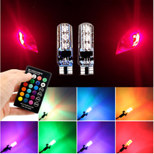 2 x LED T10 Remote Control W5W 501 RGB Color Changing Car Wedge Side Light Bulbs