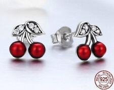Plata esterlina 925 Diseñador deslumbrante Cherry Aretes-hermoso CZ-UK