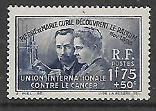 FRANCE - 1938. Int. Anti-Cancer Fund - 1f.75+50c. Single, MNH
