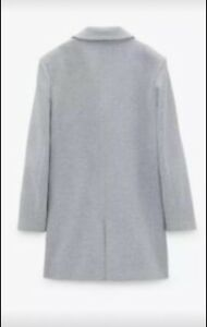 Zara Double breasted coat. Grey, size  L Bnwt Size 14