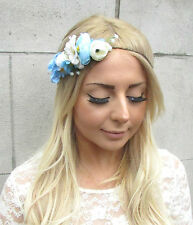 Light Blue White Ivory Gypsophila Rose Garland Headband Hair Crown Bridal 2171