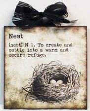 Definition Of Nest Bird Nest Vintage Custom Wood Wall Plaque NEW!