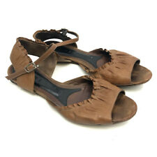 Marni Leather Sandals 8 Open Toe Buckle Ankle Strap Shirred Ruffled Edges Brown