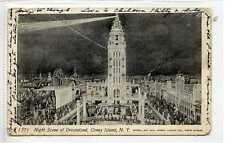 (Gu187-440) Dreamland at Night, Coney Island, NEW YORK 1904 Used G