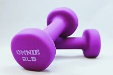 Omnie 2 LBS NEOPRENE COATED NON SLIP DUMBBELLS PAIR HAND WEIGHT SET FITNESS YOGA