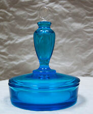 Rare Depression Era Blue Glass Puff Box with Perfume Lid