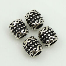 4 Pcs S925 Sterling Silver Barrel Beads Vintage DIY Jewelry Making Part WSP197X4