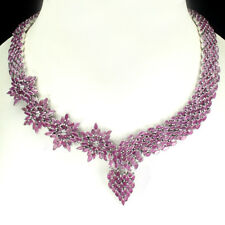 Rare 418.59 CT Marquise 4x2mm GENUINE Red Pink Ruby 925 Sterling Silver Necklace