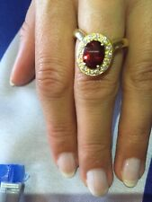 Tiffany & Co 18K Yellow Gold Almandine Oval Garnet Diamond Halo Ring RARE