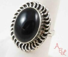 Sterling Silver Vintage 925 Cocktail Onyx Ring Sz 7.5 (11.1g) - 753429