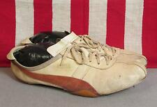Vintage 1970s Puma Collegiate White Leather Track Shoes Spikes Red Stripe Sz.11