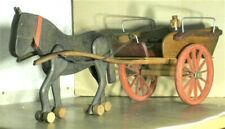 ATTELAGE CHEVAL & CALECHE-JARDINIERE,JOUET ANCIEN BOIS 72cms, idéal pour POUPEES