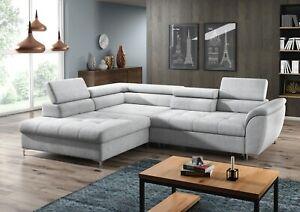 Ecksofa Schlafsofa Polster Eck Couch Garnitur Bettfunktion Leder Sofa Neu Tempo