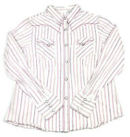 Roper Womens XL Diamond Pearl Snap LS Western Shirt Embroidered White Pink Rodeo