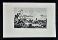 1865 Civil War Print - Siege of Yorktown - Virginia Battle - Cannon Redoubt Fort