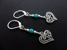 A PAIR OF TIBETAN SILVER & TURQUOISE BEAD HEART LEVERBACK HOOK EARRINGS. NEW