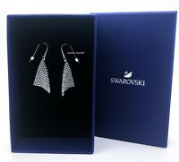 NEW SWAROVSKI Brand Rhodium Sparkle White Crystal Mesh Earrings 5143068